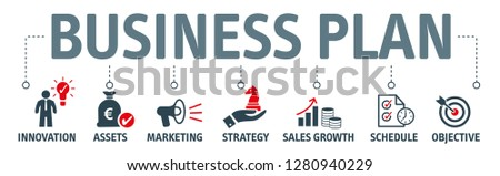 Banner business plan concept, innovation, assets, strategy, sales growth, marketing, schedule and objective with keywords and icons