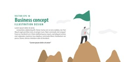 Banner Businessman holding flag on the mountain meaning success on white background illustration vector. Business concept.