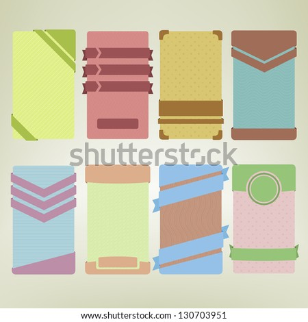 Banner card vertical ad templates with tape ribbons and buttons, vintage colored, vertical oriented, copyspace, eps10 vector design element set of eight