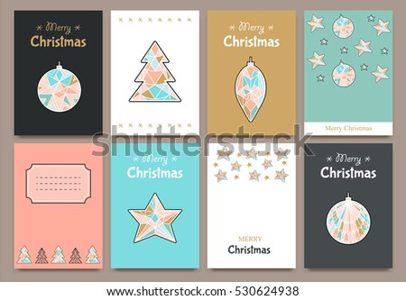Banner cards for invitations in vector format. Merry Christmas and Happy new year. Line geometric style. - Shutterstock ID 530624938