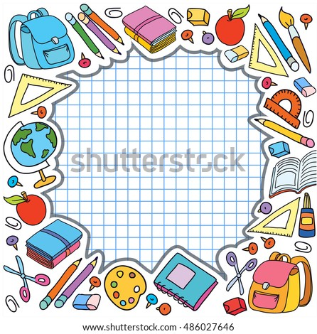 banner cell sheet in cage with pupil set of different school things back to school apple vector illustration