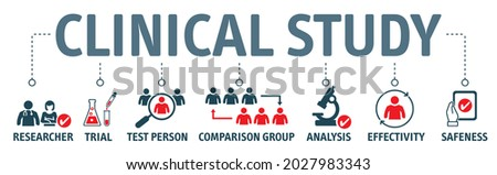 Banner clinical study and clinical trial concept - researcher, trial, test person comparison group analysis effectivity and safeness vector illustration with icons and keywords Foto stock ©