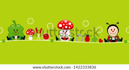 Banner Cloverleaf Fly Agaric And Ladybug Icons Green