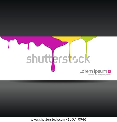 Banner colorful paint dripping design background. vector illustration