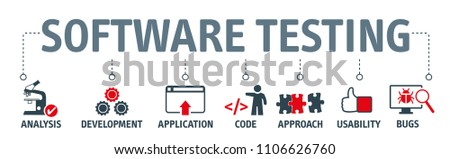 Banner Conceptual business illustration with vector icons and the words software testing