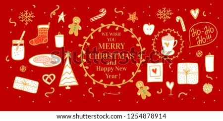 Banner Cozy gold hand drawn white on card. Milk cocoa and cookies for Santa. Vector set illustration concept Merry Christmas mood isolated on red background - Shutterstock ID 1254878914