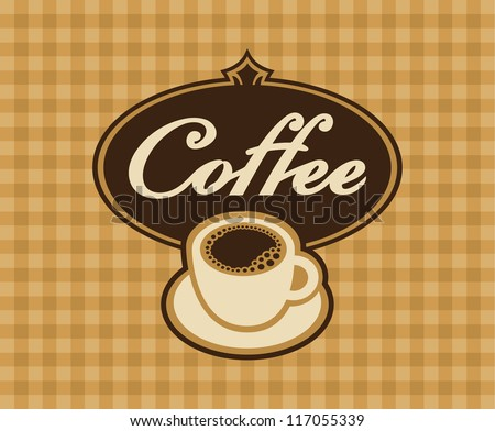banner cup of coffee on a checkered background