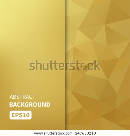 Banner design. Abstract template background with gold triangle shapes. Vector illustration EPS10