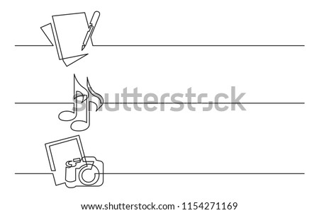 banner design - continuous line drawing of business icons: documents, music files, photos
