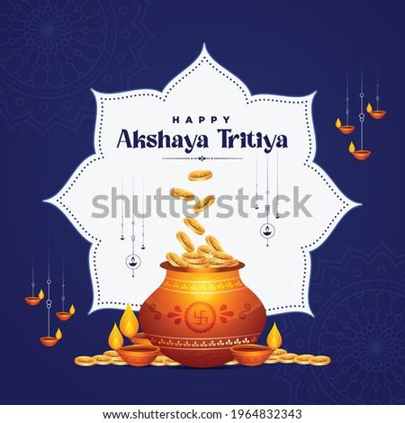 Banner design of happy akshaya tritiya festival template. Vector graphic illustration.