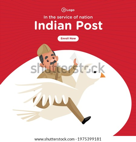 Banner design of indian post service cartoon style template.