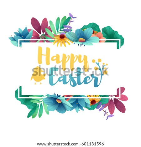Banner design template with floral decoration for spring Easter. Frame with the decor of flowers, leaves, twigs. Invitation with logo for easter holiday with silhouette rabbit and a chicken. Vector. #601131596