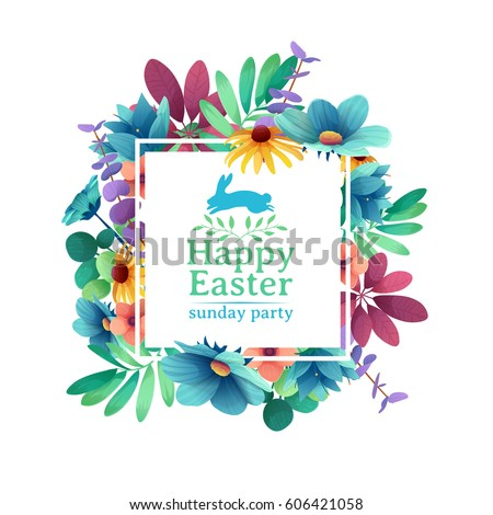 Banner design template with floral decoration for spring Easter. The square frame with the decor of flowers, leaves, twigs. Vector.