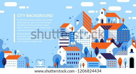 Banner design template with vector illustration of city landscape. Flat geometric style. Buildings, houses, trees and abstract elements.