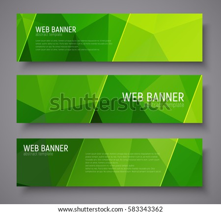 Banner design with green abstract polygonal background, transparent diagonal lines and text. Vector illustration. Set