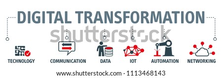 Banner digitilization concept as vector illustration with keywords and icons