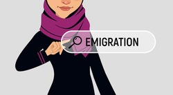 Banner emigration.Muslin woman is writing EMIGRATION in search bar on virtual screen. Vector illustration