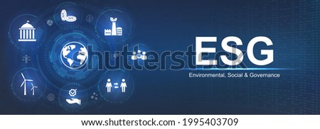 Banner ESG - Environmental, Social and Corporate Governance. Info banner calling to remember the involvement of this company in solving environmental, social and management problems with icons. Vector Stock photo ©