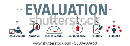 Banner evaluation concept. Assessment, Analysis, performance, improvement, results and fedback vector illustration concept.