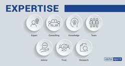 Banner expertise concept. Expert, consulting, knowledge, team, advice, trust and research vector illustration concept.