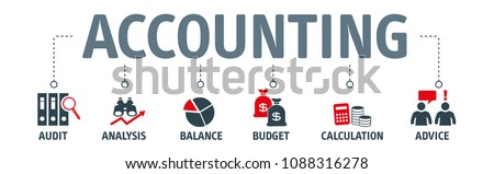 Banner financial accounting stock market graphs analysis with vector icons