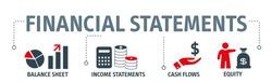 Banner financial statements concept vector illustration