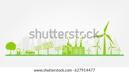 Banner flat design elements for sustainable energy development, Environmental and Ecology concept, Vector illustration.