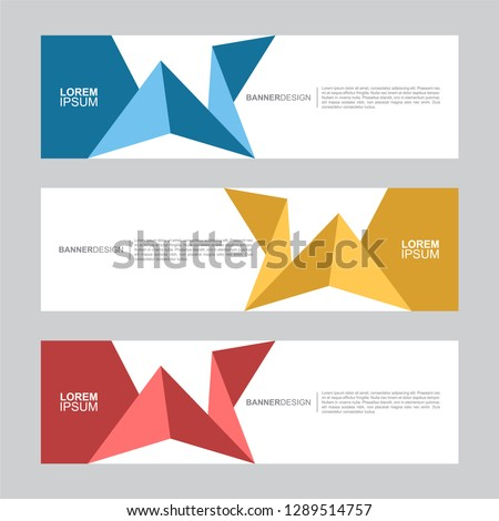 BANNER. Flat geometric shape, minimal concept background. Business and corporate horizontal banner vector template. #1289514757