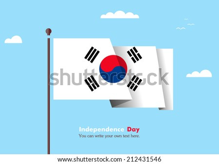 Banner fluttering in the wind on a background of clouds. Flat design. Standard on the flagpole. Blue sky. Independence Day. vector. Icon. Image. Illustration. Picture. Flag of the Republic of Korea