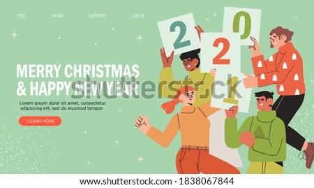 Banner, flyer, landing page with happy  people or office workers, employees hold signs with numbers 2021. Group of friends or team wish Merry Christmas and happy New Year to clients. Holiday greeting.