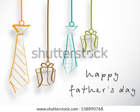 Banner, flyer or poster design, hanging neckties and gift boxes with text Happy Fathers Day on grey background.