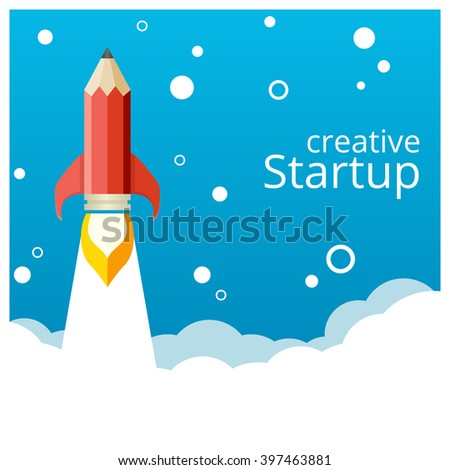 Banner for a startup. Pencil rocket takeoff.