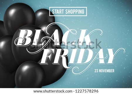 Banner for Black Friday Sale with handdrawn lettering. Poster template. 23 november. Vector illustration.