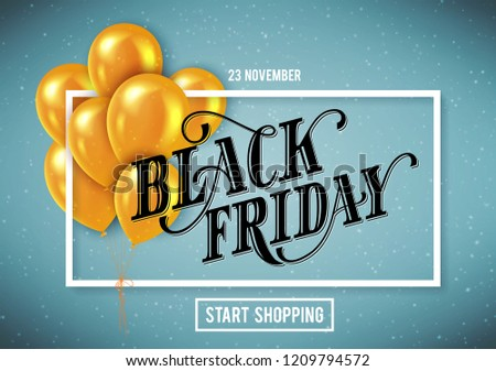 Banner for Black Friday Sale with handdrawn lettering. Poster template. Vector illustration.