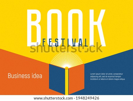 Banner for book festival. Open book as flashlight. Vector minimalist background with textures. Design template for a library, education theme. Concept of striving for success. Blue, yellow, red colors
