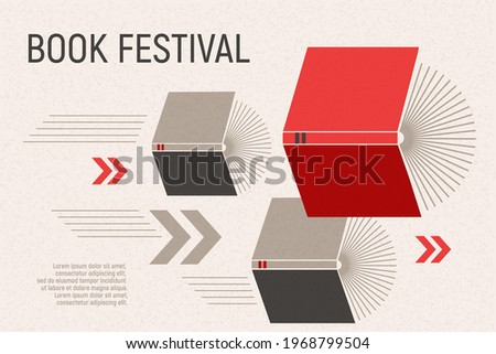 Banner for book festival. Open books flying with arrows. Vector minimalist background with textures. Design template for a library, education theme. Concept of striving for success. Red and grey color