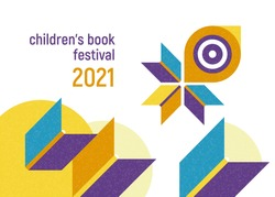 Banner for children's book festival. Open books flying with chick. Concept. Vector minimalistic background with textures. Design template for a library, school. Striving for education.