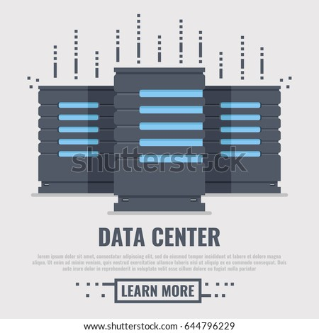 Banner for data center and server room with three server unit. Flat 3d vector illustration