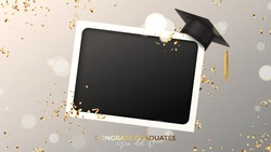 Banner for design of graduation. Blank photo frame with graduation cap, confetti and serpentine on background with effect bokeh. Congratulations graduates. Vector illustration for degree ceremony.