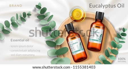 Banner for eucalyptus oil. Advertising with realistic 3d glassware bottle and plant branch, plate for antiseptic or soothing product, pharmaceutical extract of herb. Branding and ads, cosmetic theme
