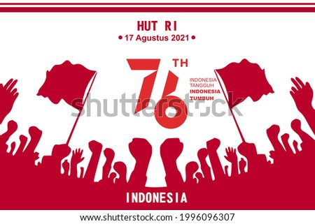 Banner for Indonesia's 76th birthday. Banner and logo. Stock fotó ©