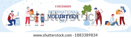 Banner for International volunteer day. Volunteering, donate, help for poor and homeless and care environment. People doing social charity activities. Vector illustration with text Stock photo ©