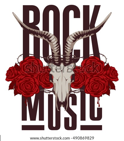 banner for rock music with goat