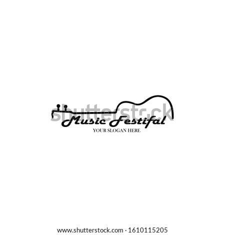 banner for the concert of classical live music with a guitar, Guitar logo, classic,instrument, musical,rock,sound,acoustic,