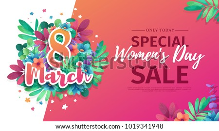 Banner for the International Happy Women's Day. Flyer for  sale March 8 with the decor of flowers.  Design Web offer with a pattern of spring  leaves and flowers for advertising and discount. Vector.