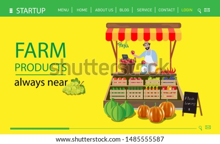 Banner for the Internet. A happy farmer sells his produce. Fresh vegetables and fruts are always nearby