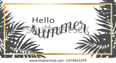banner for travel agencies, palm trees in gray monochrome colors