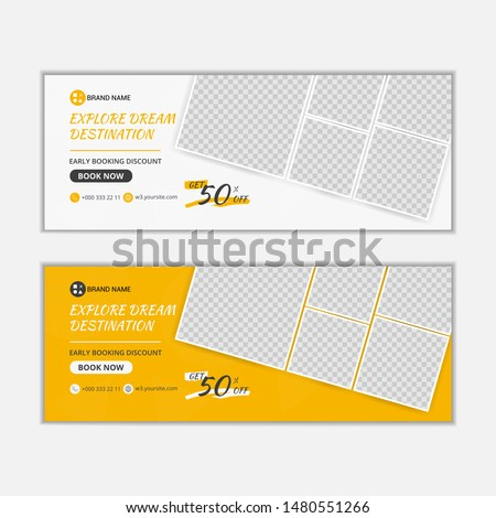 banner for web and social media ads, banners for travel ads, file with layered