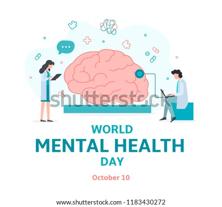 Banner for World mental health day. Doctors help the brain. Flat vector illustration.