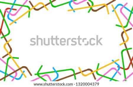 banner frame of straws colorful on white background, plastic straws waste frame for poster copy space, blank ad campaign stop and ban using straws plastic waste, advertising banner empty tube garbage